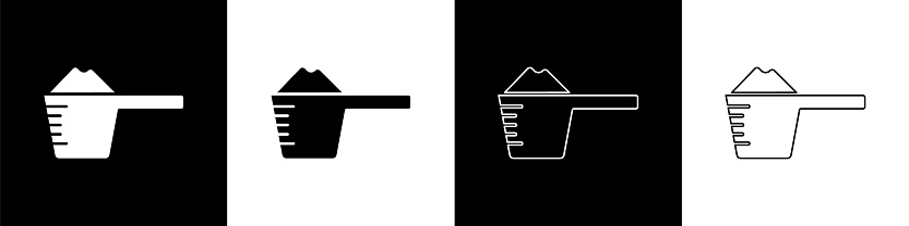 Set Washing powder in a measuring cup icon isolated on black and white background. Vector