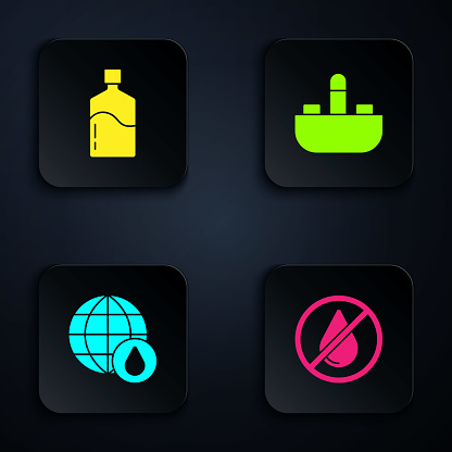 Set Water drop forbidden, Big bottle with clean water, Earth planet in and Washbasin tap. Black square button. Vector