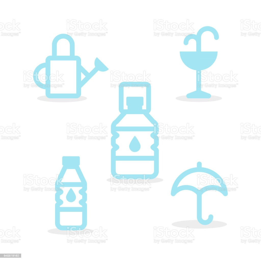Set Water Icons Round Line Style Minimal Outline Symbols Vector