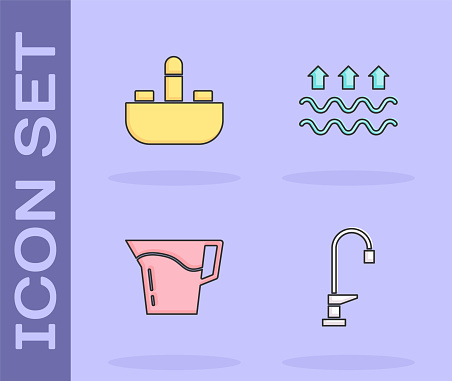 Set Water tap, Washbasin with water, Jug glass and Waves of and evaporation icon. Vector