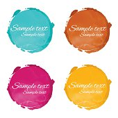 Set watercolor circle paint stains