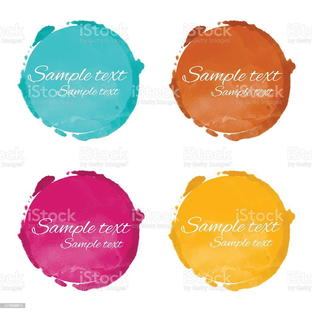 Set watercolor circle paint stains vector art illustration