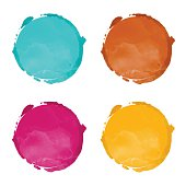 Set watercolor rainbow circle paint stains isolated
