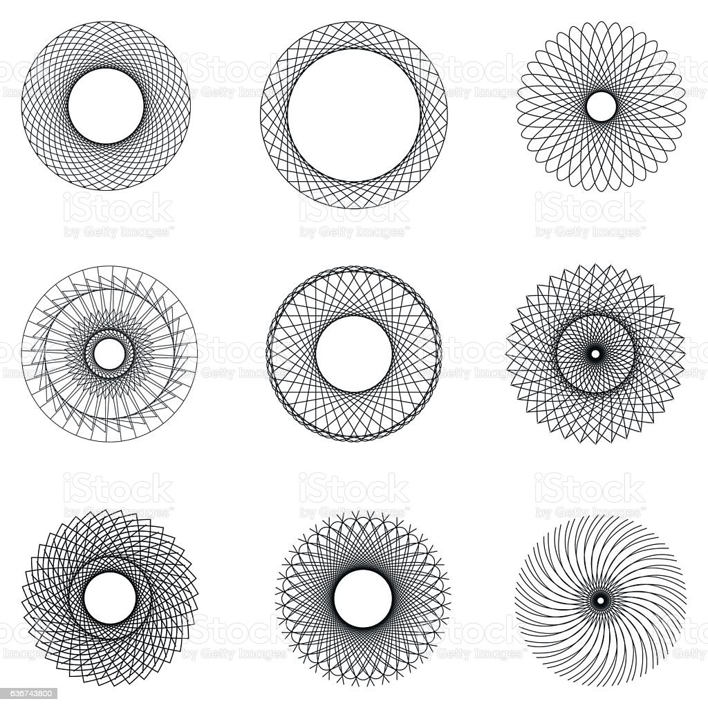 set watermark round filigree pattern vector art illustration
