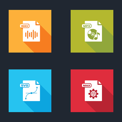 Set WAV file document, MP3, SVG and MAX icon. Vector