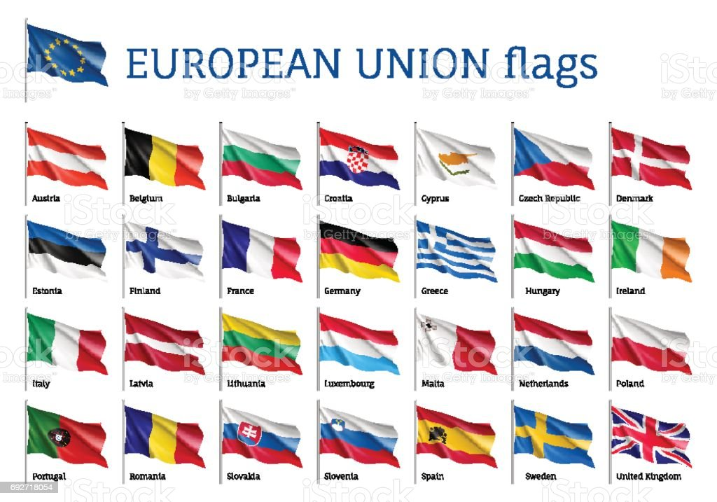 Set waving flags of EU vector art illustration