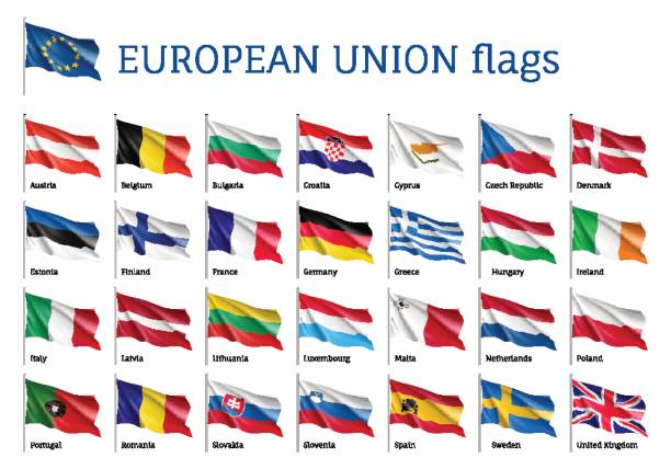 Set waving flags of EU Set of waving flags of EU: Spain, Sweden, Poland and Portugal, Belgium, Denmark, Latvia and Romania. 25 ensigns on flagpole of European Union states. Vector isolated icons on white background romania stock illustrations