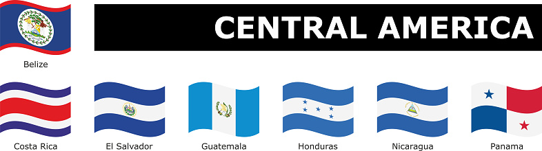 set wavy flag Central America with names