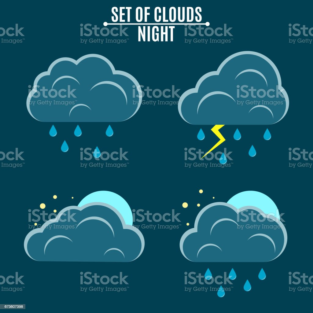 Set. Weather. A simple vector illustration in a flat style. Night...