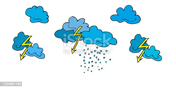 Set lightning, clouds, bad weather, thunderclouds and raindrops hand drawn  in cartoon style. Vector illustration of isolated bad weather icons on white. Weather forecast meteorology, climate symbols