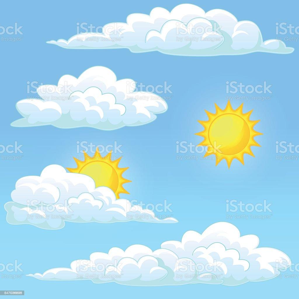 Set weather sun and clouds векторная иллюстрация