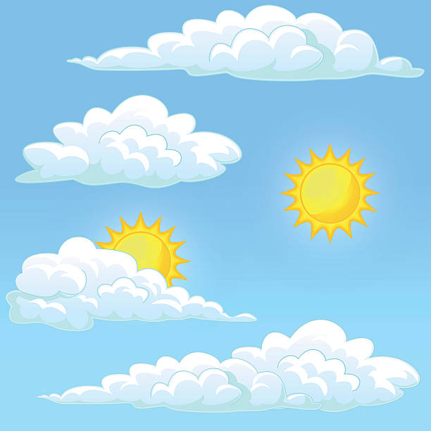 Bекторная иллюстрация Set weather sun and clouds
