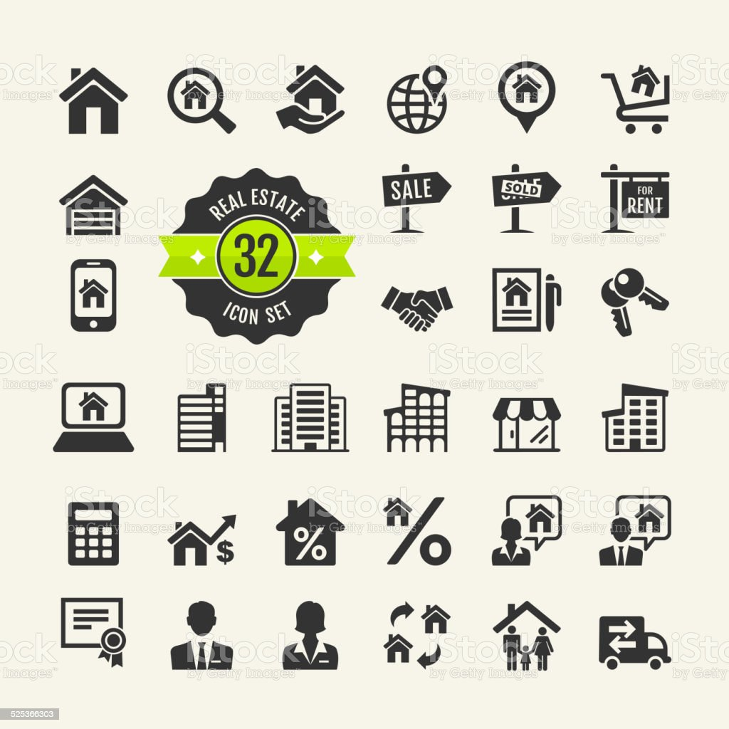Set web icons. Real Estate, property, realtor vector art illustration