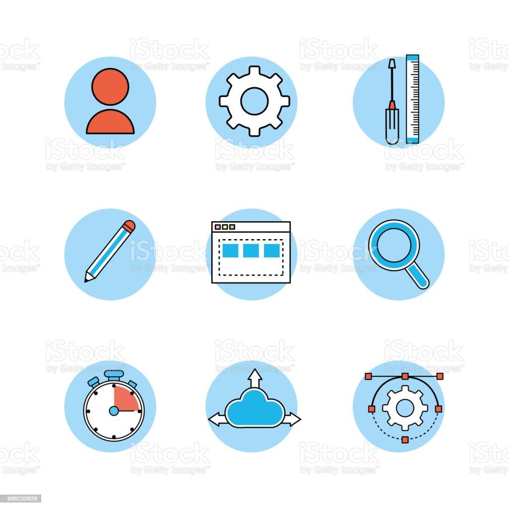 set webside code programmer technology vector art illustration