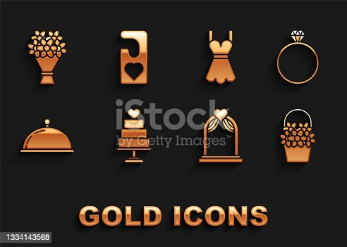 istock Set Wedding cake with heart, Diamond engagement ring, Flowers basket, arch, Covered tray of food, Woman dress, Bouquet flowers and Please do not disturb icon. Vector 1334143568