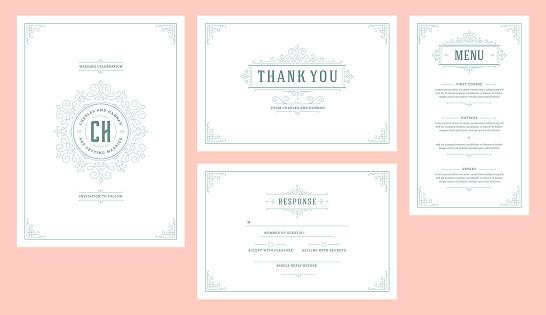 Set wedding flourishes vintage ornaments invitations cards