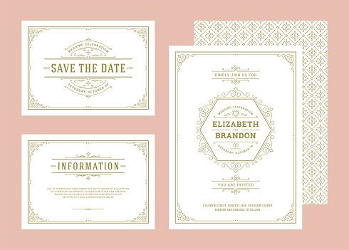 Set wedding invitations flourishes ornaments cards invite with thank you and response design