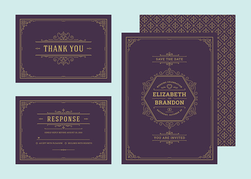 Set wedding invitations flourishes ornaments cards vector elegant ornate templates