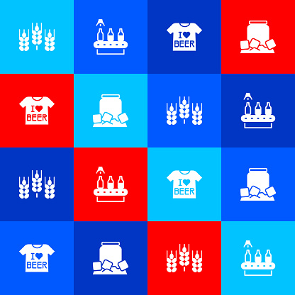 Set Wheat, Conveyor band, beer, Beer T-shirt and Cold can icon. Vector
