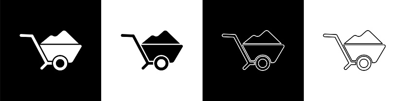 Set Wheelbarrow with dirt icon isolated on black and white background. Tool equipment. Agriculture cart wheel farm. Vector Illustration