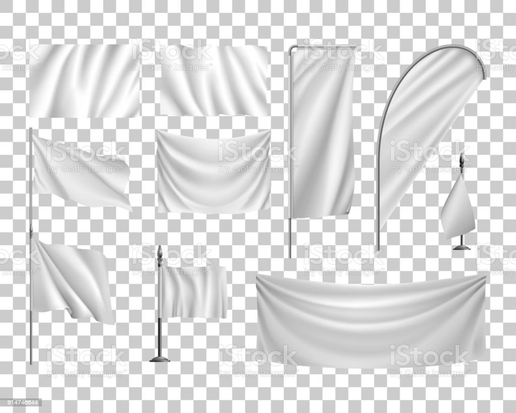Set white flags, banners, streamers, transparent background, template vector art illustration