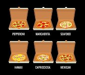 Set whole pizza in open white box. Pepperoni, Hawaiian, Margherita, Mexican, Seafood, Capricciosa. Vector isolated flat illustration for poster, menus, brochure, web and icon. Black background