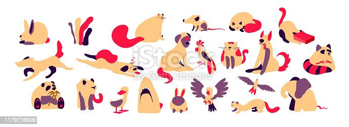 Set wild animals lion and elephant, wolf and panda bear, pets cats and dogs, birds parrot and seagull, duck. Predatory shark head. Mouse and rabbit. Art design illustrations trendy doodle flat style.