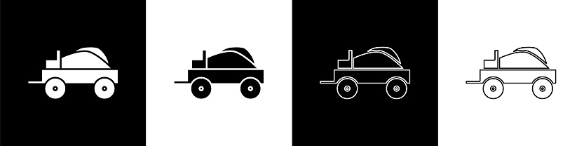 Set Wild west covered wagon icon isolated on black and white background. Vector Illustration