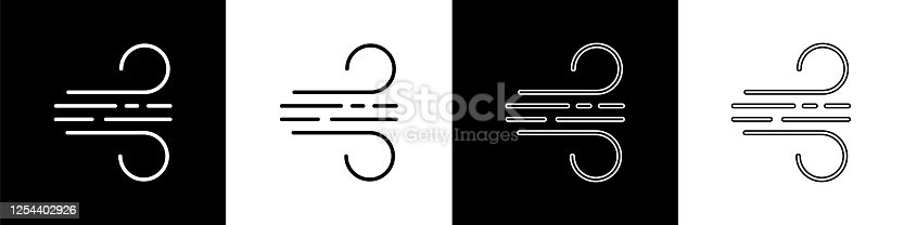 istock Set Wind icon isolated on black and white background. Windy weather. Vector Illustration 1254402926