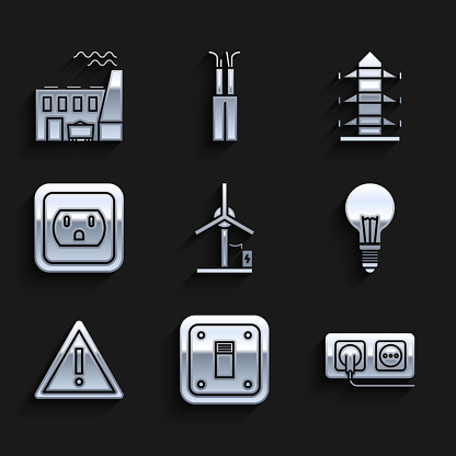 Set Wind turbine, Electric light switch, Electrical outlet, Light bulb with concept of idea, Exclamation mark triangle, the USA, High voltage power pole line and Coal plant and factory icon. Vector