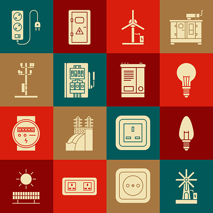 Set Wind turbine, Light bulb, with concept of idea, Electrical panel, High voltage power pole line, extension cord and Car battery icon. Vector