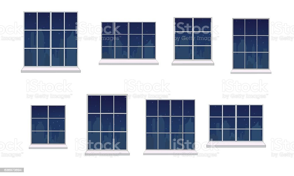 Set window frames vector art illustration