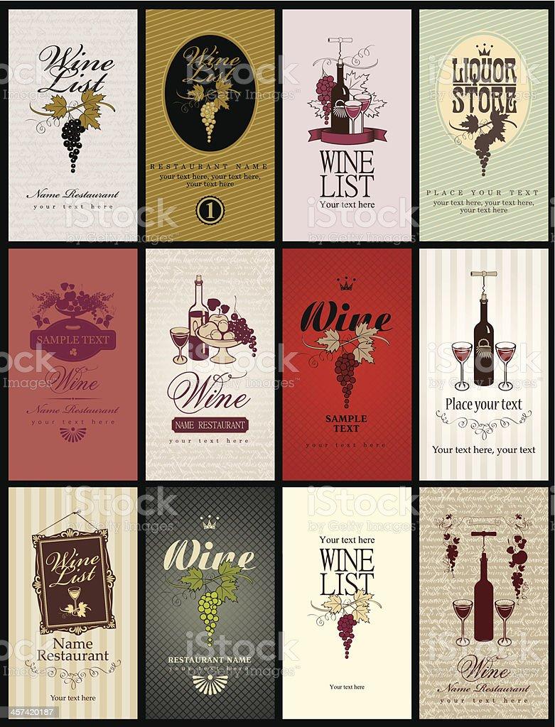 set wine vector art illustration