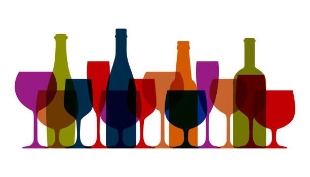 Set wineglass and bottles icon, logo, sign, emblem – stock vector Set wineglass and bottles icon, logo, sign, emblem – stock vector alcohol drink silhouettes stock illustrations