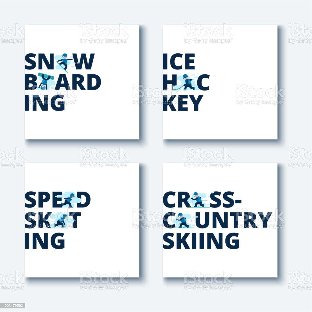 Eingestellten Winterspiele – Vektorgrafik