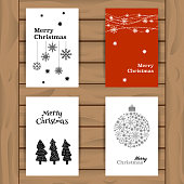 Set Winter Holidays greeting cards