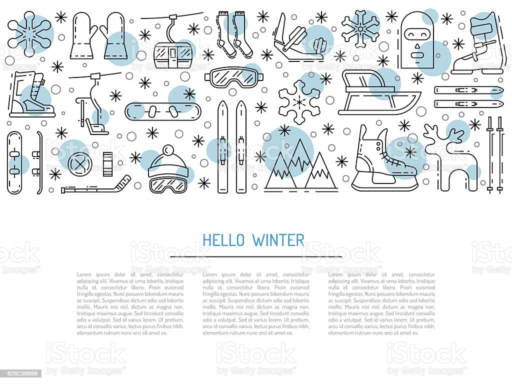 set winter icon vector art illustration