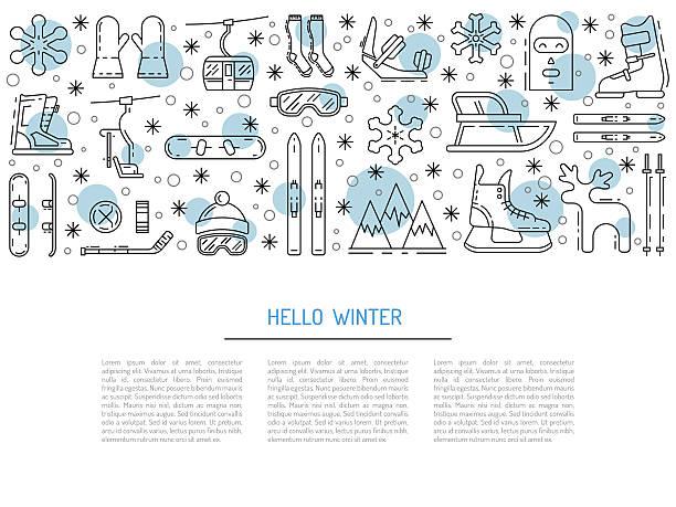 set winter icon - urlaubsaktivitäten stock-grafiken, -clipart, -cartoons und -symbole