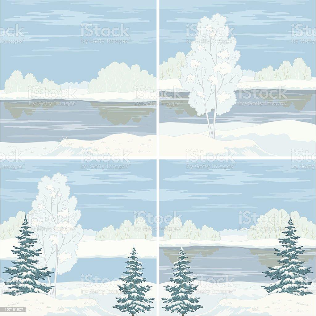 Set winter landscapes royalty-free stock vector art