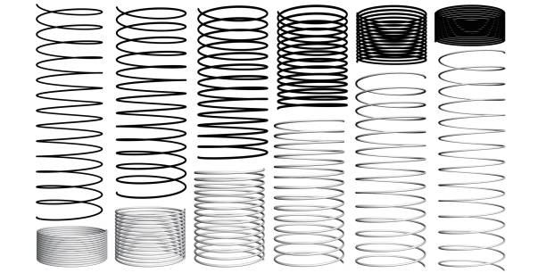 set with 3d springs - curled up stock illustrations