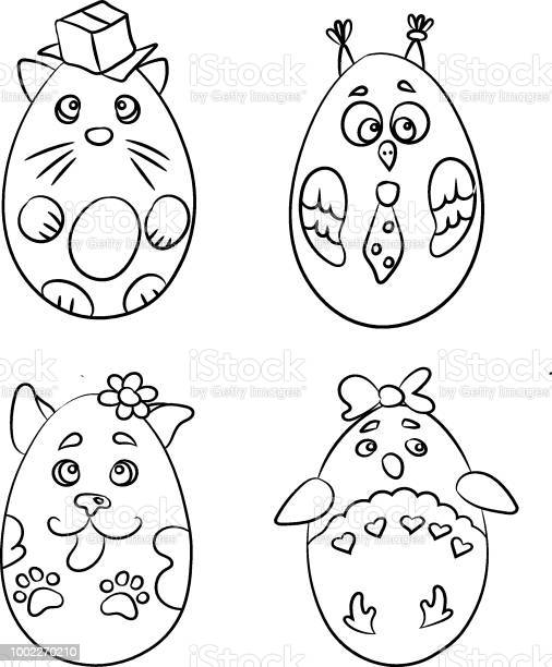 Set with 4 cute animals in a shape of easter eggs for coloring pages vector id1002270210?b=1&k=6&m=1002270210&s=612x612&h=ia57w7qvjijxb8hjimsptkyjmqy96xpbmkn1m6aorqy=