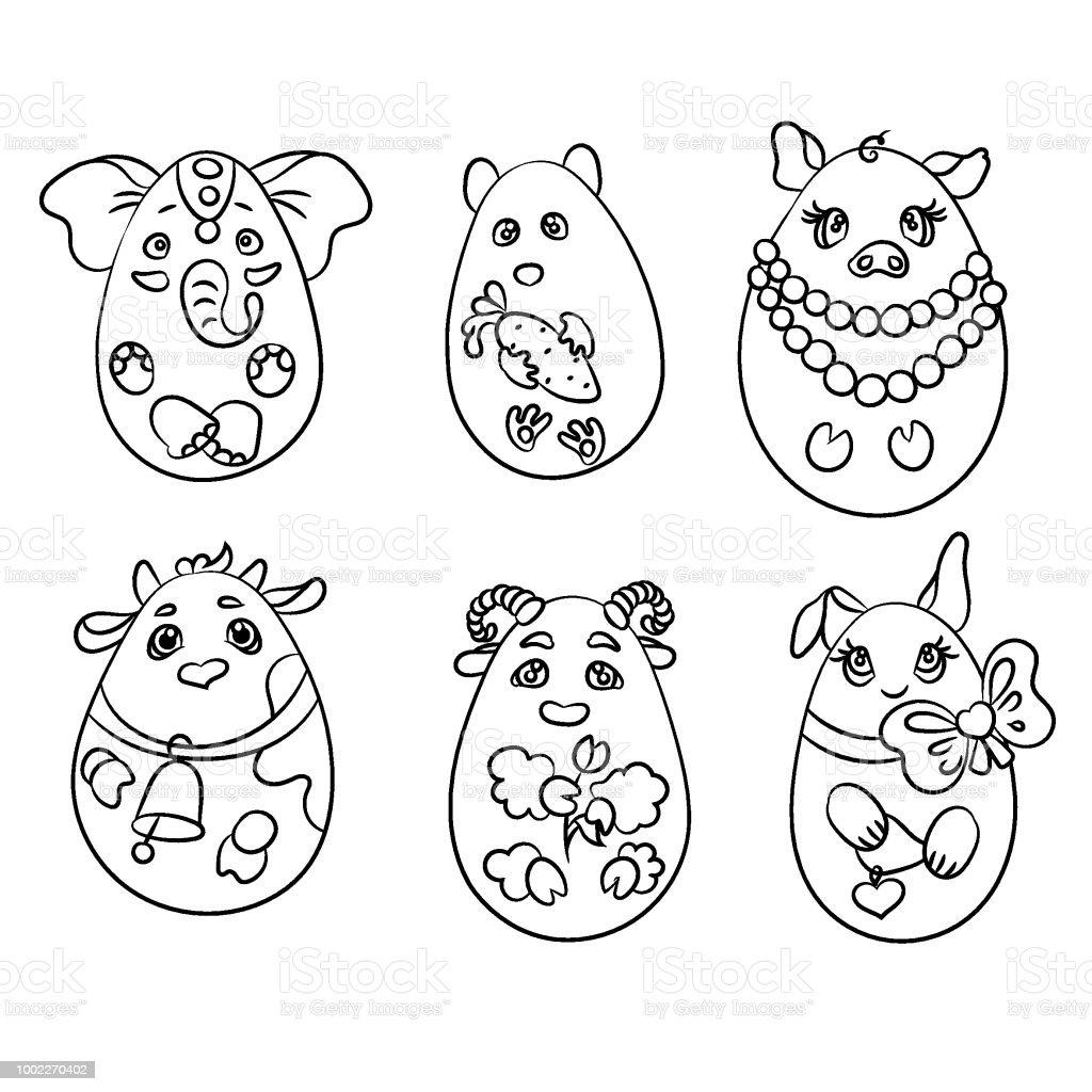 Ilustración de Set Con 6 Animales En Forma De Huevos Es Un Para ...