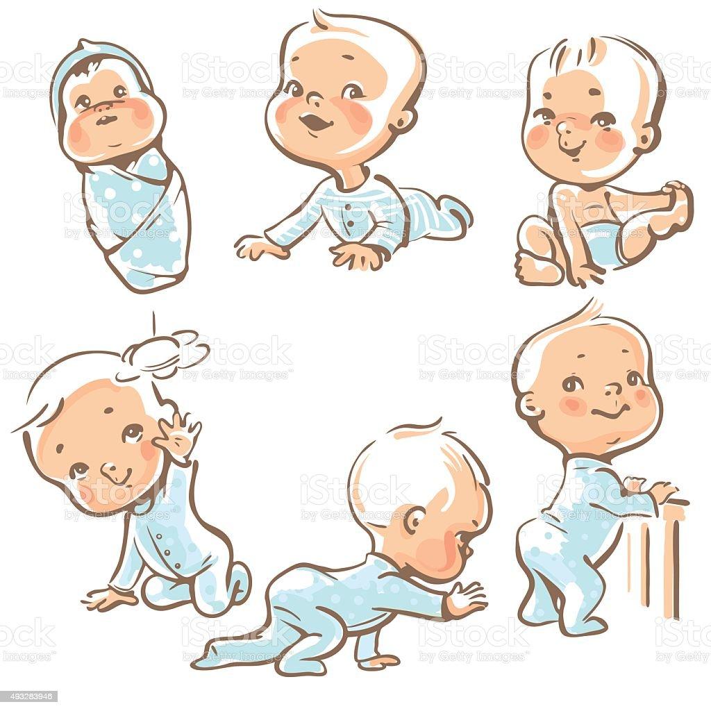 Set with 6 cute baby boys vector art illustration