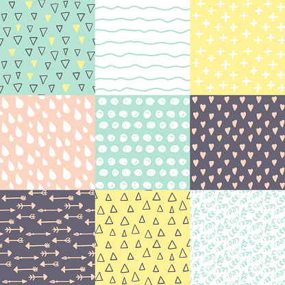 Set with 9 hand drawn doodle brightly colors seamless patterns. Simple texture for background, wallpaper, fabric or a wrapping paper