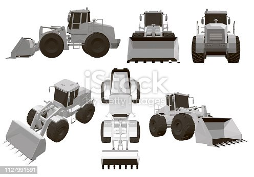 Set with a bulldozer 6 polygonal bulldozers at different angles. Isometric view, top, side, front, back. White wheel loader bulldozer heavy equipment and construction machinery vector illustration. 3D
