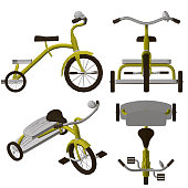 Set with a children's tricycle. Polygonal detailed bike. Isometric view, front, top and side. 3D. Vector illustration.