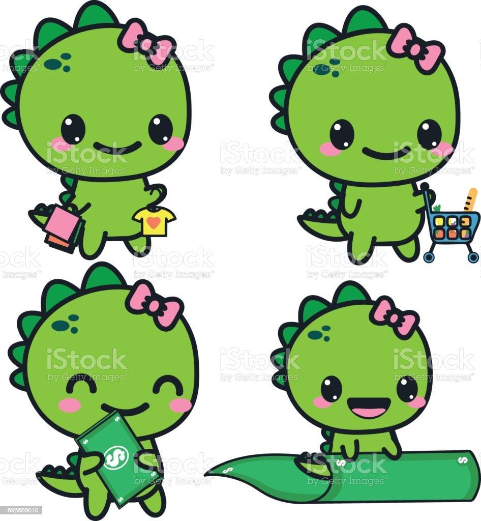 Set with a dinosaur. A dinosaur with money, shopping vector art illustration