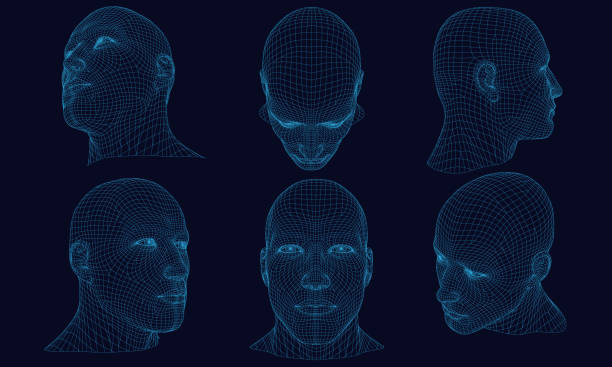 Set with a polygonal head of a man 3D Set with polygonal head of a man on a dark background. Wireframe of the head of a man from the blue lines. 3D. Detailed wireframe of the human head. Vector illustration. one man only stock illustrations