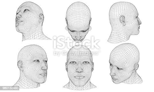 Set with the head of a man in different positions. 3D. Vector illustration.