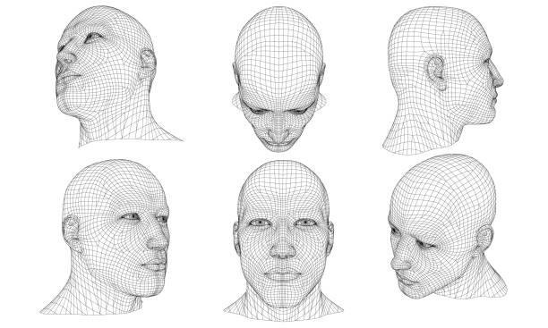 zestaw z wielokątną głową mężczyzny 3d - ludzkie części ciała stock illustrations